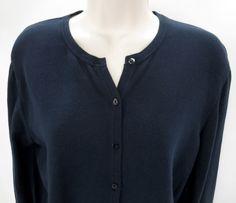 Henri Bendel Classics L 100% Navy Blue Cotton Long Sleeve Cardigan Sweater Italy #HenriBendel #Cardigan