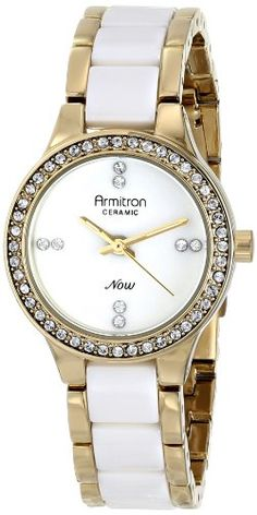 Women's Wrist Watches - Armitron Womens 755210WTGPWT Swarovski CrystalAccented Watch >>> Click image for more details.