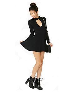 Fashion Sexy Black Knit Keyhole Long Sleeve Dress Set