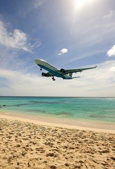 Maho Beach, St. Maarten...had a blast watching the planes come and go...