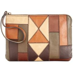 Patricia Nash Zigzag Patchwork Cassini Wristlet ($79) ❤ liked on Polyvore featuring bags, handbags, clutches, zig zag stitch patchwork, genuine leather handbags, patricia nash handbags, leather patchwork purse, brown purse and patricia nash purses