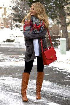 plaid blanket scarf grey textured cardigan casual outfit idea