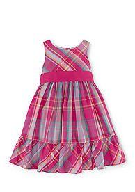 Chaps Yarn-Dyed Woven Flouncy Dress Girls 4-6x