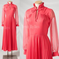 Vintage Maxi dress Vintage pink maxi dress 70s dress bow tie dress - S/M