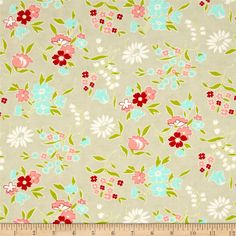 Moda Vintage Picnic Playful Gray from @fabricdotcom  Designed by Bonnie and Camille for Moda, this fabric is perfect for quilting, apparel and home decor accents. Colors include grey, green, aqua, pink, white and red.