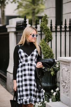 Topshop Moto Jacket + Modcloth Gingham Dress | bows & sequins