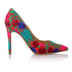 Vivienne Westwood Embroidered Levitate Court Shoes (€520) ❤ liked on Polyvore featuring shoes, pumps, heels, sapatos, multi-color pumps, red heel pumps, red pointy pumps, colorful pumps and red high heel pumps