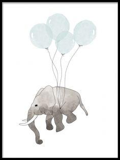 Barntavlor med djur. Fin plansch till barnrummet med elefant. Söt tavla till pojkrummet. www.desenio.se