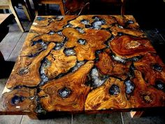 Teak roots and cracked resin table top