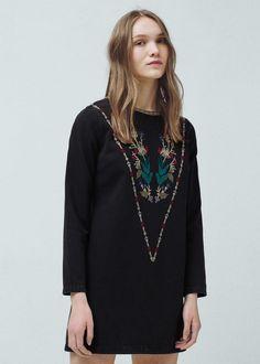 Embroidered denim dress - Dresses for Women   MANGO USA