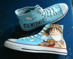 Anime One Piece Luffy hand painted blue canvas shoes http://it.aliexpress.com/store/product/Anime-One-Piece-Luffy-hand-painted-blue-canvas-shoes-new-fashion-men-women-classic-high-top/1768014_32595081524.html