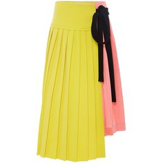 Marni Pleated Colorblock Wraparound Skirt ($2,360) ❤ liked on Polyvore featuring skirts, bottoms, pleated skirt, knee length pleated skirt, crepe skirt, fitted midi skirt and mid-calf skirt