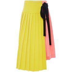 Marni Pleated Colorblock Wraparound Skirt (156.475 RUB) ❤ liked on Polyvore featuring skirts, bottoms, marni skirt, wrap skirt, yellow skirt, pleated skirt and color block skirt
