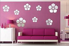 Designer Cast Acrylic Flower Wall Mirror Room Stickers Silver- Pack Of 8 Pcs Wall Mirrors With Storage, Cheap Wall Mirrors, Classic Wall Mirrors, Wall Mirrors Entryway, Mirror Room, Rustic Wall Mirrors, Contemporary Wall Mirrors, Mirror Bathroom, Mirror Gallery Wall