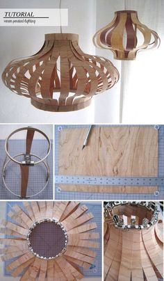 DIY Veneer Wood Pendant Lighting - i probably won't make this lamp, but could certainly use tips on dealing with veneer for furniture repair. Vintage Industrial Lighting, Rustic Lighting, Outdoor Lighting, Party Lighting, Club Lighting, Lighting Ideas, Rustic Light Fixtures, Outdoor Light Fixtures, Wood Pendant Light
