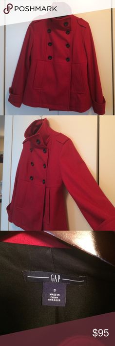🌹🎉Host Pick: Red Gap winter jacket🎉🌹 ✅ Shipped ASAP ✅ Bundles (customizable) ✅ Prices negotiable  ✅ Questions  ✅ Poshmark compliance ❌ Trades ❌ PayPal or off-app sales NWOT - this stunning red winter jacket is brand new without the tags. The sleeves have a button detail, it has 2 pockets and a collar which can be popped up or flattened down as needed! GAP Jackets & Coats