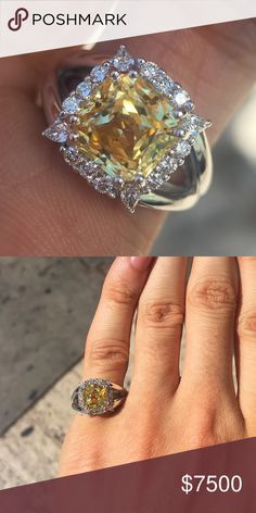 4 carat yellow sapphire and diamond halo ring 4 carat yellow sapphire and diamond halo ring. 4.7 carats total set in 18k white gold. Will be made to order can change options depending on budget. Price is actually as shown 15k but it won't come up in the search unless it's priced lower ben dannie  Jewelry Rings