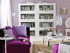 See more ideas about Purple living room paint, Purple living room sofas and Dark purple rooms. Purple Living Room Furniture, Accent Walls In Living Room, Living Room Sets, Living Room Designs, Living Room Decor, Purple Bedrooms, Guest Bedrooms, Bookcases, Modern Bedrooms