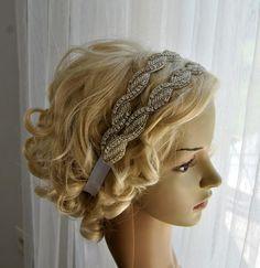 Crystal Headband- Double row, Wedding Headband, Wedding Halo Bridal ribbon Headpiece Headband tie on, 1920s Flapper headband