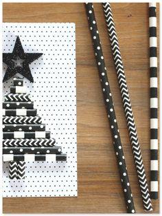 DIY Baum aus Strohhalmen Weihnachtskarte Karte