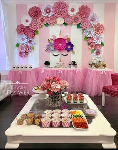 This is too much but lots of nice ideas especially the food Spongebob Birthday Party, Unicorn Themed Birthday, Unicorn Party, Backdrop Decorations, Birthday Decorations, Flower Decorations, Sweet 16 Birthday, Baby Birthday, Unicorn Baby Shower