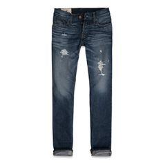 Slim boot jeans in destroyed medium wash