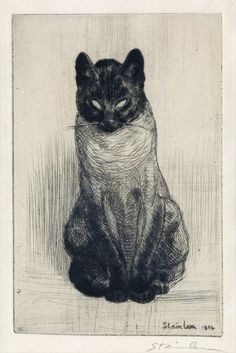 THÉOPHILE STEINLEN Petit Chat Siamois, assis. Drypoint on cream laid paper, 1914.