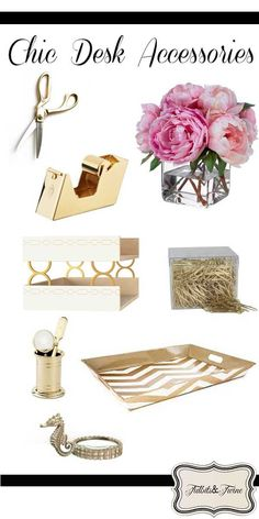 TIDBITS-&-TWINE Make your work space pretty with these gorgeous gold desk accessories!
