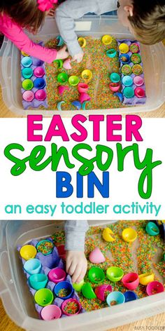 Easter Sensory Bin - such an easy Easter activity for toddlers! They will love this simple Easter sensory bin that's so quick and easy to set up. The perfect indoor Easter activity for toddlers and preschoolers. This is an amazing round-up of sensory bins Easter Activities For Toddlers, Easter Crafts For Kids, Infant Activities, Toddler Crafts, Toddler Snacks, Sensory Activities, Spring Activities, Easter Ideas, Easter For Babies