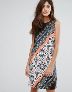 Warehouse Geo-Tribal Printed Shift Dress