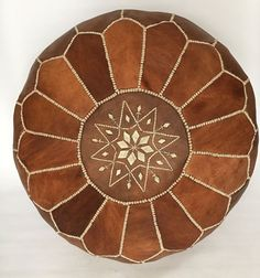 Unstuffed marokkanische handgefertigte Tan braun Leder Pouf / Boden Kissen / Ottoman