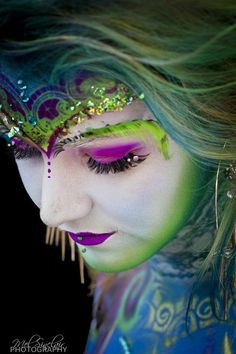 "Colorful fantasy make-up with crystal accented lashes.  ""The Painted Princess"" by Mel Sinclair."