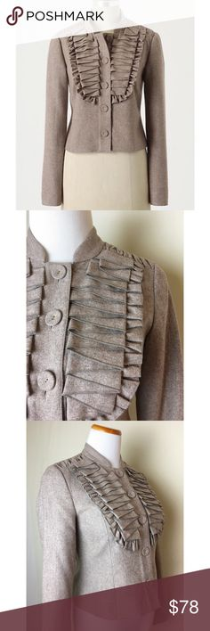 Gorgeous Tabitha riding jacket NWT Taupe wool blend jacket with ruched shoulders and tucked yoke. Fabric covered buttons. Fully lined. Anthropologie Jackets & Coats