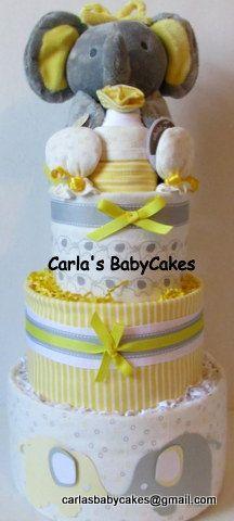 Grey & Yellow Elephant Diaper Cake 3 Layer by MsCarlasBabyCakes