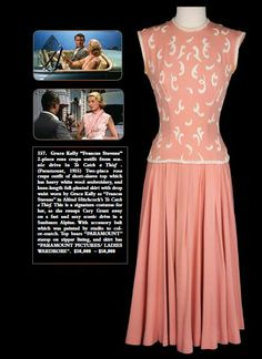 """Pink dress worn by *Grace Kelly* in 'To Catch a Thief'"" - [1955]~[Source Penny Dreadful Vintage]'h4d'"