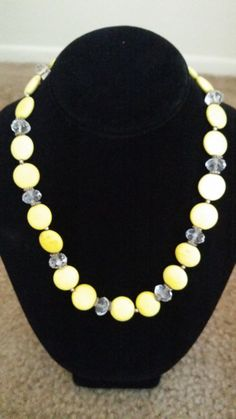 Yellow stone necklace on Etsy, $15.00