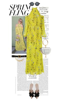 """""""#126"""" by yolins ❤ liked on Polyvore featuring self-portrait, Chloé, Manolo Blahnik, CÉLINE, Chanel and springdresses"""