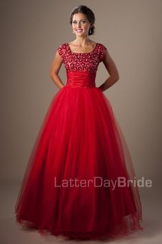 Modest prom gowns in Salt Lake City, the Pippa with beading in red
