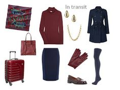 travel outfit in burgundy and navy