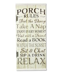 Love this 'Porch Rules' Wall Art on #zulily! #zulilyfinds