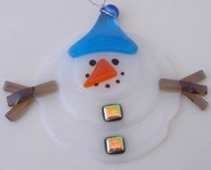 Fused Glass Melting Snowman Ornament by DawnRiveraDesigns on Etsy, $20.00