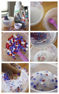Patriotic Slime Liquid Starch Slime Recipe Set Up and Mixing Slime