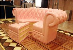 Here's a Couch That Looks Like a Very Delicious Cake -- Is there anything better than cake? Yes, it's eating a slice of it on top of this couch that looks like a cake. I don't know whether to take a nap on it or devour it. Cute Furniture, Furniture Design, Furniture Ideas, Weird Furniture, Furniture Websites, Furniture Logo, Modular Furniture, Furniture Showroom, Inexpensive Furniture