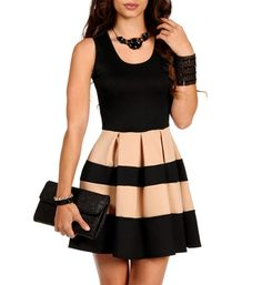 Cannot resist color blocking! | Black/Taupe Sleeveless Skater Stripe Dress