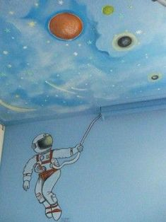 SPACE THEME ROOMS - We bought our house before our first child was even born and one of our first projects was painting a kids space room in our spare bedro Kids Room Murals, Kids Rooms, Steampunk Bedroom, Bedroom Ideas Pinterest, Galaxy Room, Space Theme, Amazing Spaces, Bedroom Themes, Kid Spaces