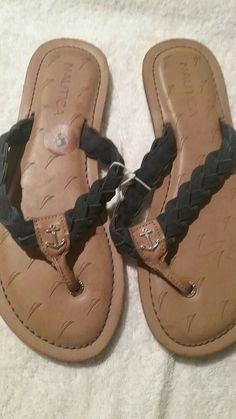 25f0acf07c76 New - Nautica Voyage Braided Leather Flip Flop Anchor Sandals Women s Sz 8   fashion