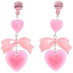 Tarina Tarantino - I Love Hearts/ I Hate Hearts Drop Earrings (Pink) - Jewelry (  found on Polyvore