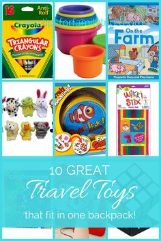 10 great travel toys that fit into ONE small backpack. Take a break from the screens and keep your kids happy on long car and plane trips with these fun and inexpensive travel toys | tipsforfamilytrips.com