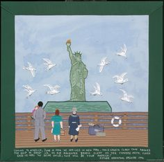"""33 – COMING TO AMERICA  (From the picture): """"Coming to America, June 10, 1949. We arrived in New York. Max's cousin Clara came aboard the ship to greet us. As our daughter Brasia slept in her father's arms, Clara said to her, 'My dear child, this will be your America!'""""  Embroidery and fabric collage, 1996.  23-3/4""""W x 23-5/8""""H. FABRIC OF SURVIVAL 