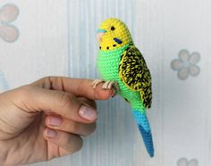 Green yellow budgie Crochet Plush Toy Parrot Stuffed animal Personalized for bird owners gift. : Green yellow budgie Crochet Plush Toy Parrot Stuffed animal Personalized for bird owners gift pet loss customized Bird, animal Bird budgie Crochet Customize Crochet Parrot, Crochet Birds, Cute Crochet, Crochet Animals, Easter Crochet, Crochet Roses, Crochet Rabbit, Crocheted Flowers, Crochet Stars